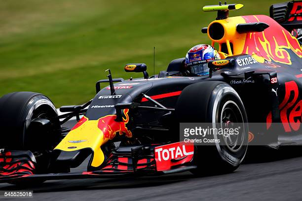Max Verstappen of the Netherlands driving the Red Bull Racing Red BullTAG Heuer RB12 TAG Heuer on track during practice for the Formula One Grand...