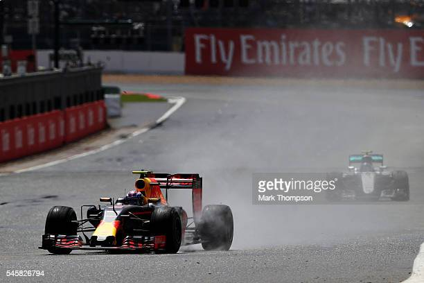 Max Verstappen of the Netherlands driving the Red Bull Racing Red BullTAG Heuer RB12 TAG Heuer leads Nico Rosberg of Germany driving the Mercedes AMG...