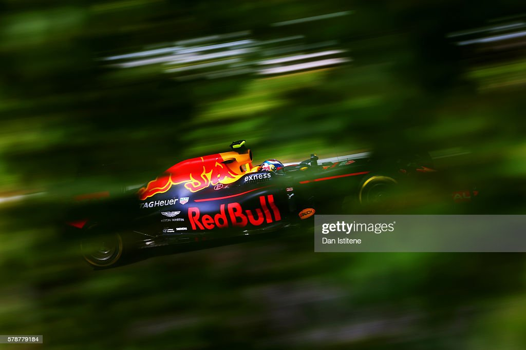 Max Verstappen of the Netherlands driving the (33) Red Bull Racing Red Bull-TAG Heuer RB12 TAG Heuer on track during practice for the Formula One Grand Prix of Hungary at Hungaroring on July 22, 2016 in Budapest, Hungary.