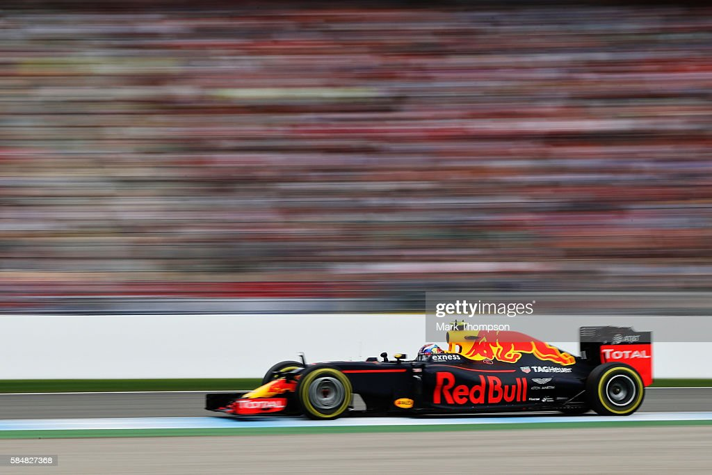 Max Verstappen of the Netherlands driving the (33) Red Bull Racing Red Bull-TAG Heuer RB12 TAG Heuer on track during the Formula One Grand Prix of Germany at Hockenheimring on July 31, 2016 in Hockenheim, Germany.
