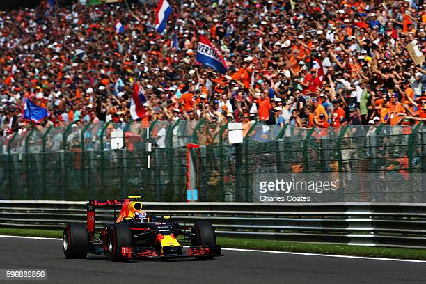 Max Verstappen of the Netherlands driving the Red Bull Racing Red BullTAG Heuer RB12 TAG Heuer on track during the Formula One Grand Prix of Belgium...