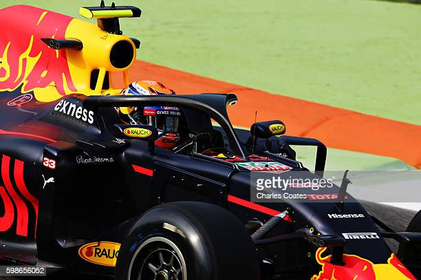 Max Verstappen of the Netherlands driving the Red Bull Racing Red BullTAG Heuer RB12 TAG Heuer fitted with the halo on track during practice for the...