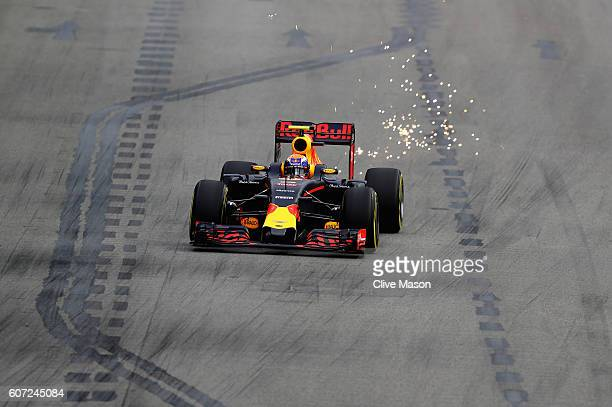 Max Verstappen of the Netherlands driving the Red Bull Racing Red BullTAG Heuer RB12 TAG Heuer on track during final practice for the Formula One...
