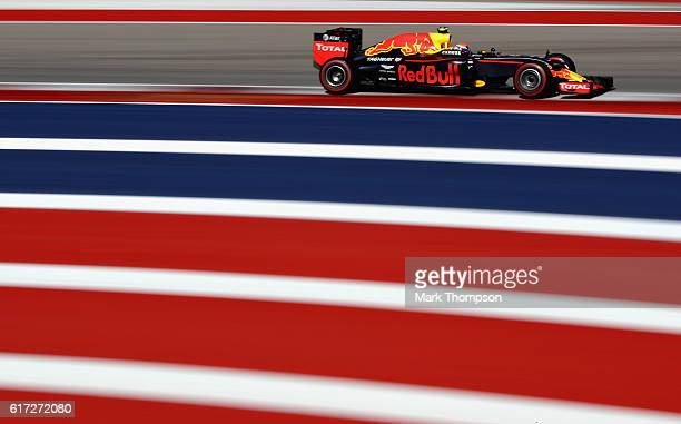 Max Verstappen of the Netherlands driving the Red Bull Racing Red BullTAG Heuer RB12 TAG Heuer on track during final practice for the United States...
