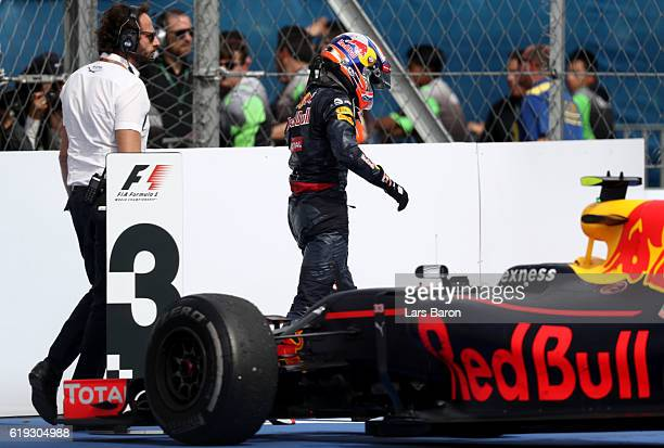 Max Verstappen of the Netherlands driving the Red Bull Racing Red BullTAG Heuer RB12 TAG Heuer in parc ferme during the Formula One Grand Prix of...