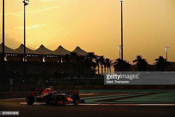 Max Verstappen of the Netherlands driving the Red Bull Racing Red BullTAG Heuer RB12 TAG Heuer on track during practice for the Abu Dhabi Formula One...