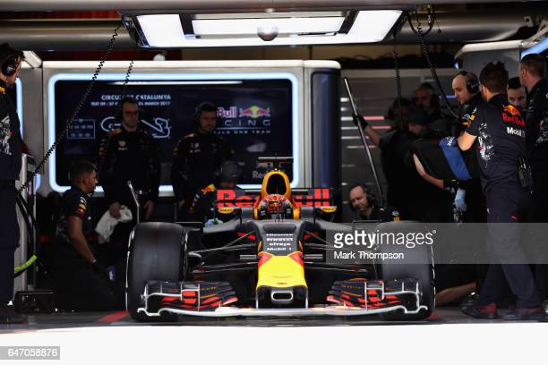 Max Verstappen of the Netherlands driving the Red Bull Racing Red BullTAG Heuer RB13 TAG Heuer leaves the garage during day four of Formula One...