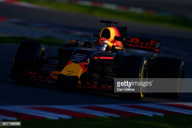 Max Verstappen of the Netherlands driving the Red Bull Racing Red BullTAG Heuer RB13 TAG Heuer on track during day four of Formula One winter testing...
