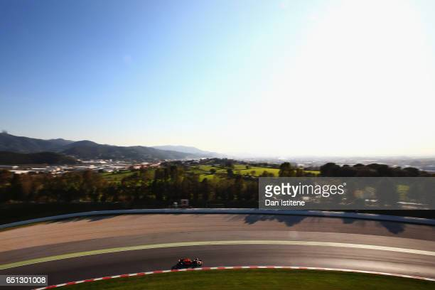 Max Verstappen of the Netherlands driving the Red Bull Racing Red BullTAG Heuer RB13 TAG Heuer on track during the final day of Formula One winter...