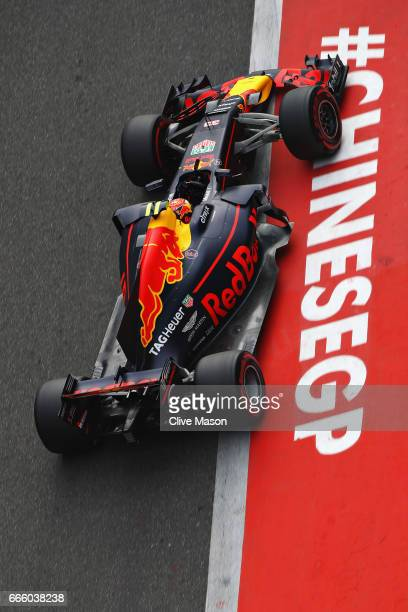 Max Verstappen of the Netherlands driving the Red Bull Racing Red BullTAG Heuer RB13 TAG Heuer in the Pitlane during qualifying for the Formula One...
