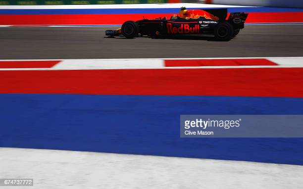 Max Verstappen of the Netherlands driving the Red Bull Racing Red Bull-TAG Heuer RB13 TAG Heuer on track during final practice for the Formula One...