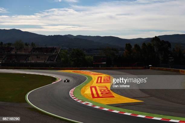 Max Verstappen of the Netherlands driving the Red Bull Racing Red Bull-TAG Heuer RB13 TAG Heuer on track during practice for the Spanish Formula One...
