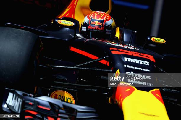 Max Verstappen of the Netherlands driving the Red Bull Racing Red BullTAG Heuer RB13 TAG Heuer leaves the garage during qualifying for the Spanish...