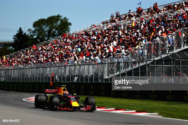 Max Verstappen of the Netherlands driving the Red Bull Racing Red BullTAG Heuer RB13 TAG Heuer on track during final practice for the Canadian...