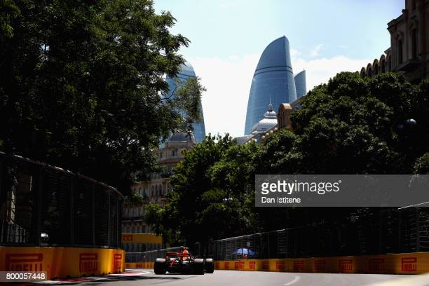 Max Verstappen of the Netherlands driving the Red Bull Racing Red BullTAG Heuer RB13 TAG Heuer on track during practice for the European Formula One...