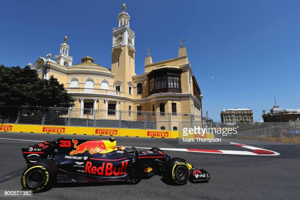 Max Verstappen of the Netherlands driving the Red Bull Racing Red BullTAG Heuer RB13 TAG Heuer on track during final practice for the Azerbaijan...