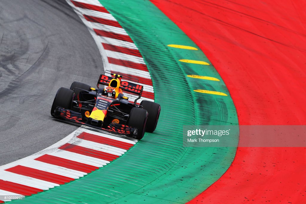 Max Verstappen of the Netherlands driving the (33) Red Bull Racing Red Bull-TAG Heuer RB13 TAG Heuer on track during practice for the Formula One Grand Prix of Austria at Red Bull Ring on July 7, 2017 in Spielberg, Austria.