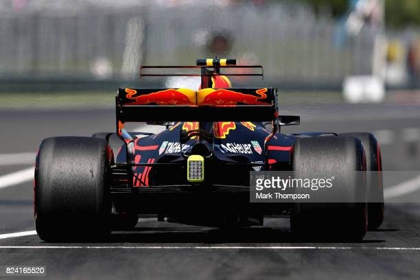Max Verstappen of the Netherlands driving the Red Bull Racing Red BullTAG Heuer RB13 TAG Heuer leaves the pit lane during final practice for the...