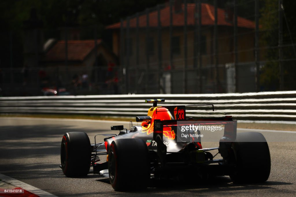 Max Verstappen of the Netherlands driving the (33) Red Bull Racing Red Bull-TAG Heuer RB13 TAG Heuer on track during practice for the Formula One Grand Prix of Italy at Autodromo di Monza on September 1, 2017 in Monza, Italy.