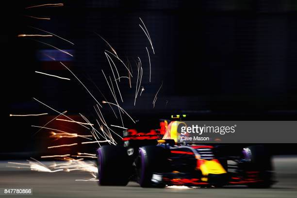 Max Verstappen of the Netherlands driving the Red Bull Racing Red BullTAG Heuer RB13 TAG Heuer on track during final practice for the Formula One...