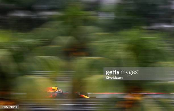 Max Verstappen of the Netherlands driving the Red Bull Racing Red BullTAG Heuer RB13 TAG Heuer on track during practice for the Malaysia Formula One...