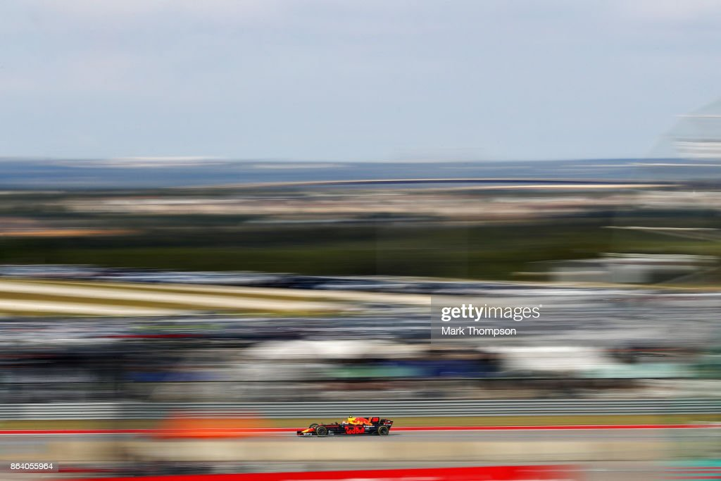 Max Verstappen of the Netherlands driving the (33) Red Bull Racing Red Bull-TAG Heuer RB13 TAG Heuer on track during practice for the United States Formula One Grand Prix at Circuit of The Americas on October 20, 2017 in Austin, Texas.
