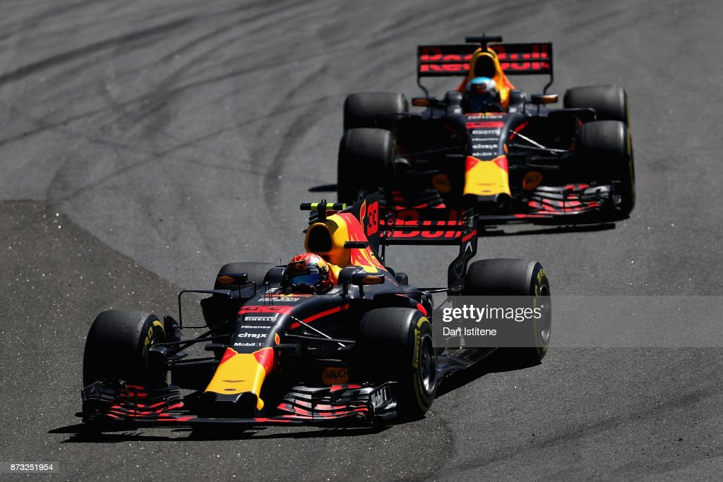 Max Verstappen of the Netherlands driving the (33) Red Bull Racing Red Bull-TAG Heuer RB13 TAG Heuer leads Daniel Ricciardo of Australia driving the (3) Red Bull Racing Red Bull-TAG Heuer RB13 TAG Heuer on track during the Formula One Grand Prix of Brazil at Autodromo Jose Carlos Pace on November 12, 2017 in Sao Paulo, Brazil.