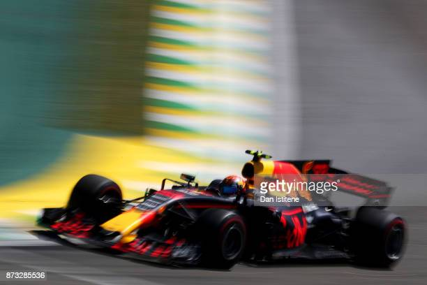 Max Verstappen of the Netherlands driving the Red Bull Racing Red BullTAG Heuer RB13 TAG Heuer on track during the Formula One Grand Prix of Brazil...