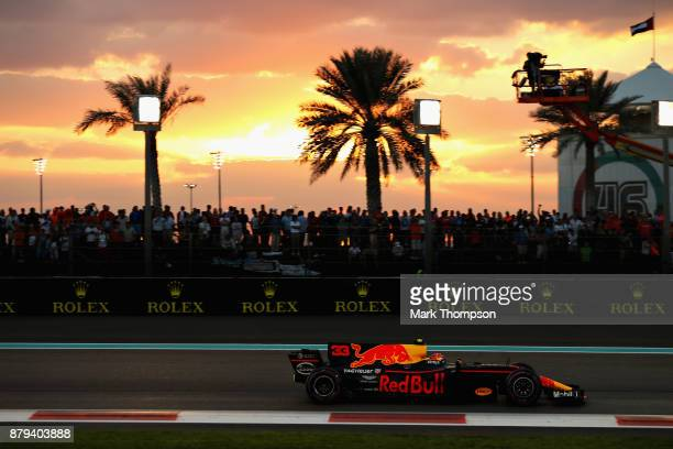 Max Verstappen of the Netherlands driving the Red Bull Racing Red Bull-TAG Heuer RB13 TAG Heuer on track during the Abu Dhabi Formula One Grand Prix...