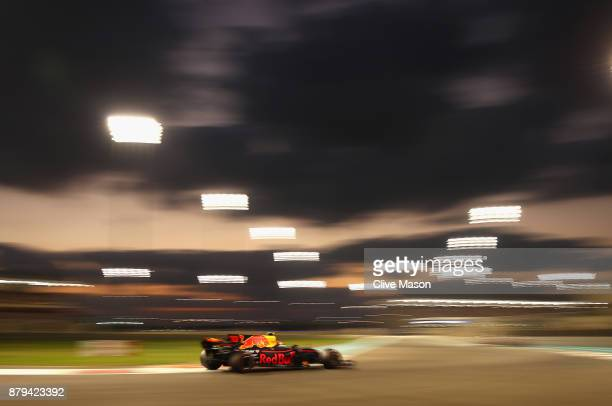 Max Verstappen of the Netherlands driving the Red Bull Racing Red BullTAG Heuer RB13 TAG Heuer on track during the Abu Dhabi Formula One Grand Prix...