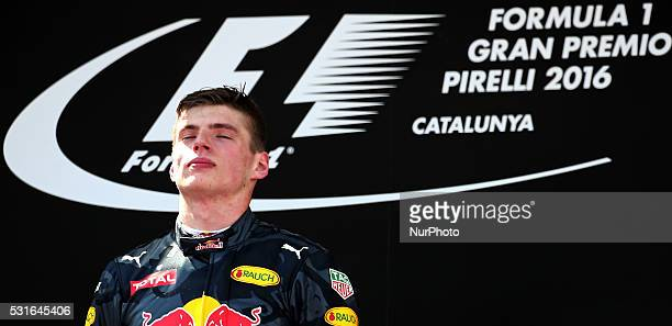 Max Verstappen on the podium of the GP Spain of Formula 1, held at the Barcelona-Catalunya Circuit, on may 15, 2016.
