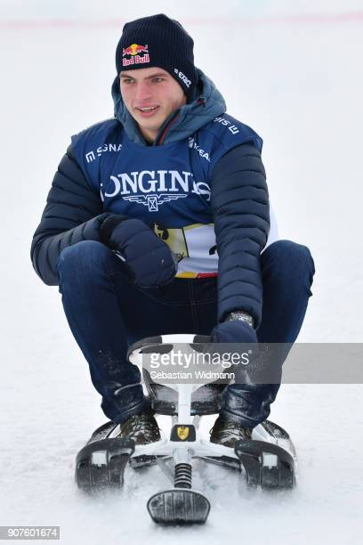 Max Verstappen rides on a sled during the KitzCharityTrophy on January 20 2018 in Kitzbuehel Austria