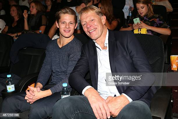 Max von der Groeben and his father Alexander von der Groeben during the world premiere of 'Fack ju Goehte 2' at Mathaeser Kino on September 7, 2015...