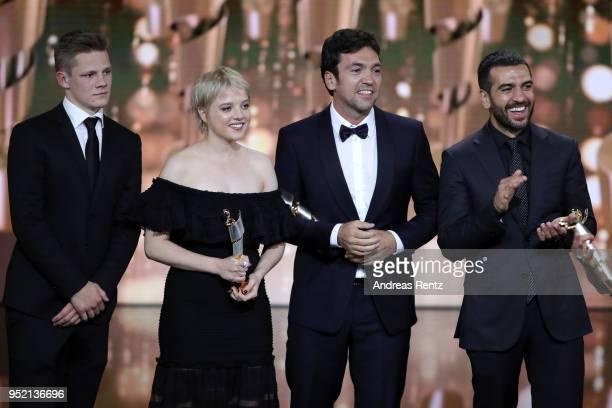 Max von der Groeben Jella Haase Bora Dagtekin and Elyas M'Barek accept the award 'Biggest Movie Audience' for the film 'Fack ju Goehte' on stage...