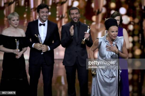 Max von der Groeben Jella Haase Bora Dagtekin and Elyas M'Barek and Katja Riemann accept the award 'Biggest Movie Audience' for the film 'Fack ju...