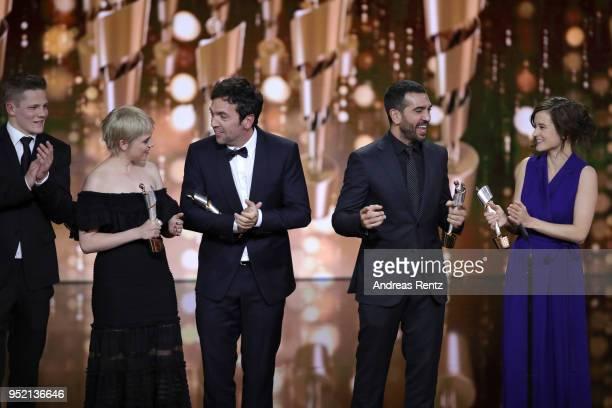 Max von der Groeben Jella Haase Bora Dagtekin Elyas M'Barek and Lena Schoemann accept the award 'Biggest Movie Audience' for the film 'Fack ju...