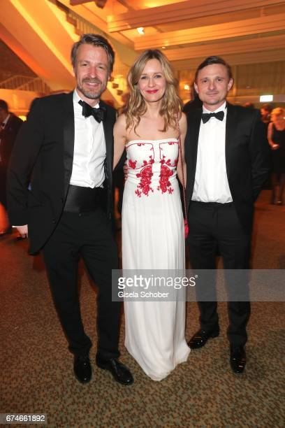 Max von Pufendorf Stefanie Stappenbeck and Florian Lukas during the Lola German Film Award after party at Palais am Funkturm on April 28 2017 in...