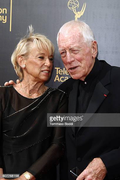Max von Sydow and Catherine Brelet attend the 2016 Creative Arts Emmy Awards held at Microsoft Theater on September 10, 2016 in Los Angeles,...