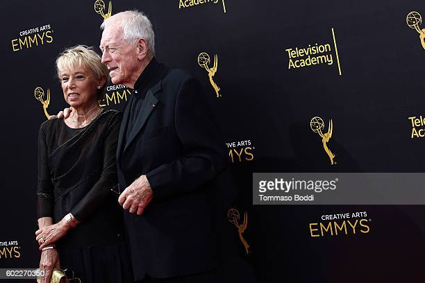 Max von Sydow and Catherine Brelet attend the 2016 Creative Arts Emmy Awards held at Microsoft Theater on September 10 2016 in Los Angeles California