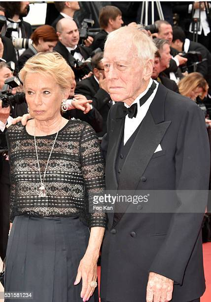 Max Von Sydow and Catherine Brelet attend 'The BFG ' premiere during the 69th annual Cannes Film Festival at the Palais des Festivals on May 14 2016...