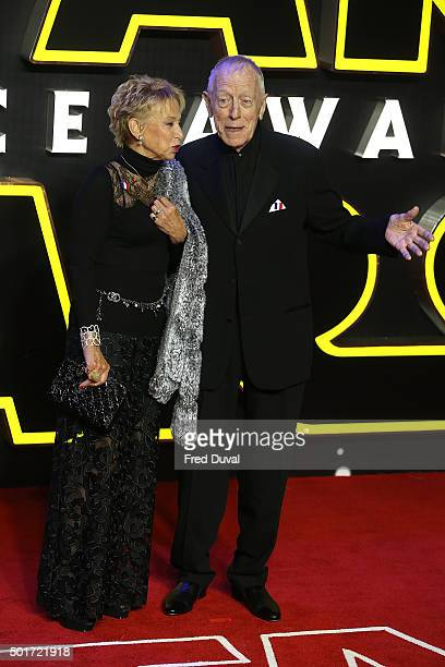 Max Von Sydow and Catherine Brelet attend the European Premiere of Star Wars The Force Awakens at Leicester Square on December 16 2015 in London...