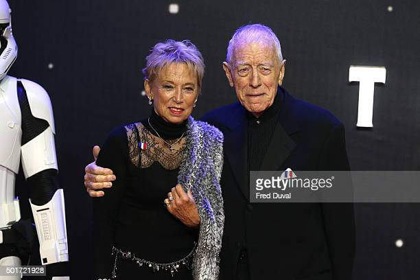 """Max Von Sydow and Catherine Brelet attend the European Premiere of """"Star Wars"""" The Force Awakens at Leicester Square on December 16, 2015 in London,..."""