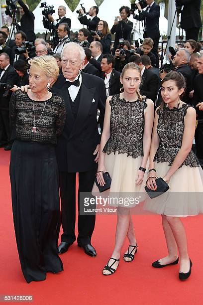 Max von Sydow and his wife Catherine Brelet and his Grand Daughters attend 'The BFG ' premiere during the 69th annual Cannes Film Festival at the...