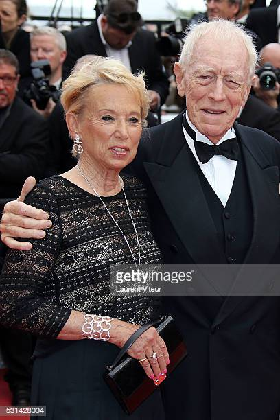 Max von Sydow and his wife Catherine Brelet attend 'The BFG ' premiere during the 69th annual Cannes Film Festival at the Palais des Festivals on May...