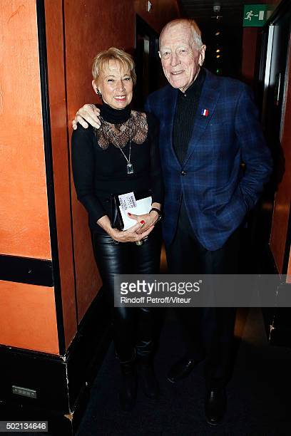 Max von Sydow and his wife Catherine Brelet attend the Laurent Gerra One Man Show at L'Olympia on December 19 2015 in Paris France