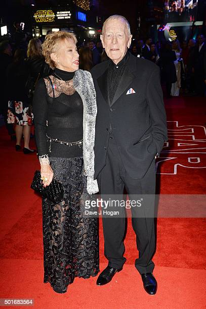 Max von Sydow and wife Catherine Brelet attend the European Premiere of Star Wars The Force Awakens at Leicester Square on December 16 2015 in London...