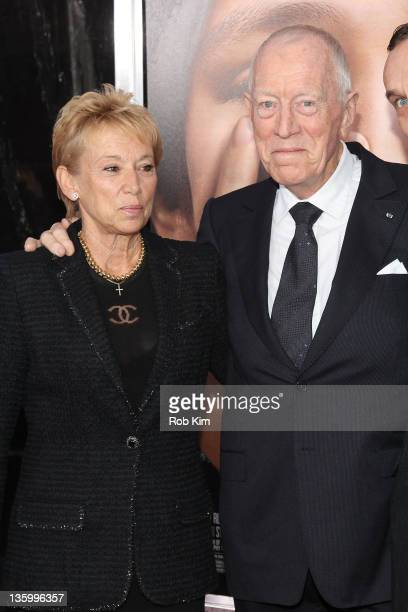 Max von Sydow and wife Catherine Brelet attend the Extremely Loud Incredibly Close New York premiere at the Ziegfeld Theater on December 15 2011 in...