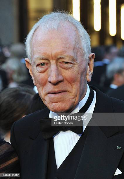 Max von Sydow arrives at the 84th Annual Academy Awards held at the Hollywood Highland Center on February 26 2012 in Hollywood California