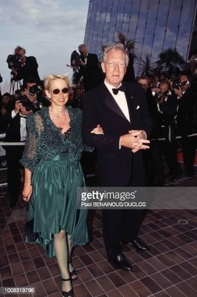 Max Von Sydow et son épouse Catherine Brelet au Festival de Cannes le 17 mai 1996 France