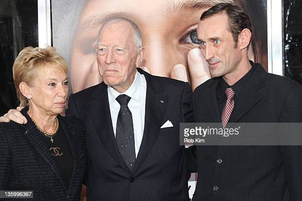 Max von Sydow wife Catherine Brelet and son Cedric Brelet von Sydow attend the Extremely Loud Incredibly Close New York premiere at the Ziegfeld...